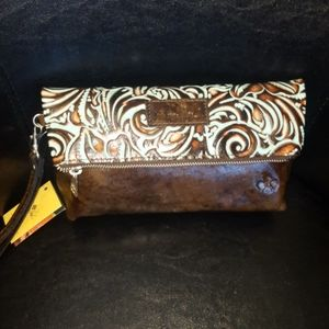 ❤NWT Patricia Nash Valerie Turquoise Tooled Clutch